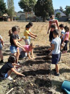 Un jardin bio dans notre école – Les CE enfilent leurs bottes!